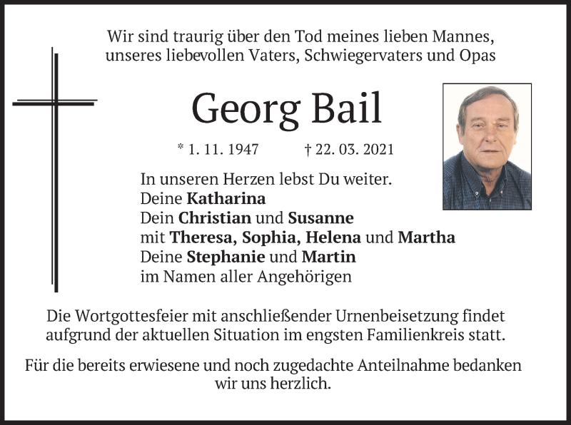 Traueranzeige für Georg Bail vom 27.03.2021 aus merkurtz