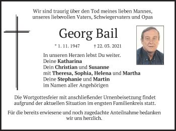 Traueranzeige von Georg Bail von merkurtz