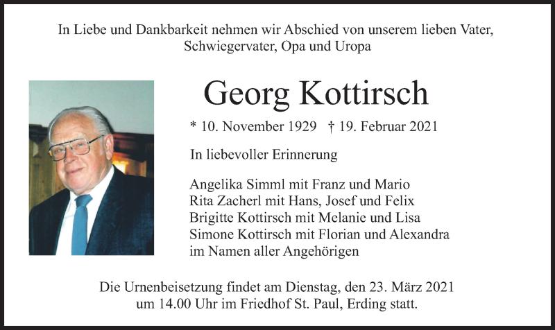 Traueranzeige für Georg Kottirsch vom 20.03.2021 aus merkurtz