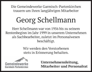 Traueranzeige von Georg Schellmann von merkurtz