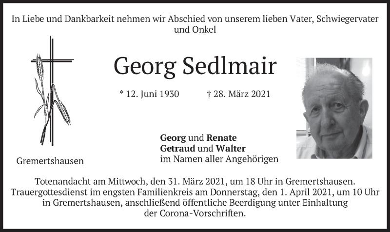 Traueranzeige für Georg Sedlmair vom 30.03.2021 aus merkurtz