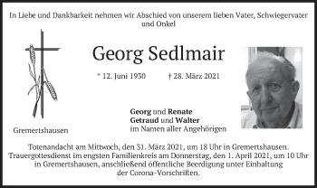 Traueranzeige von Georg Sedlmair von merkurtz
