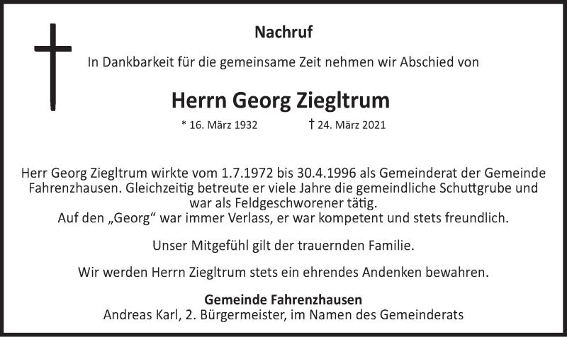 Traueranzeige für Georg Ziegltrum vom 30.03.2021 aus merkurtz