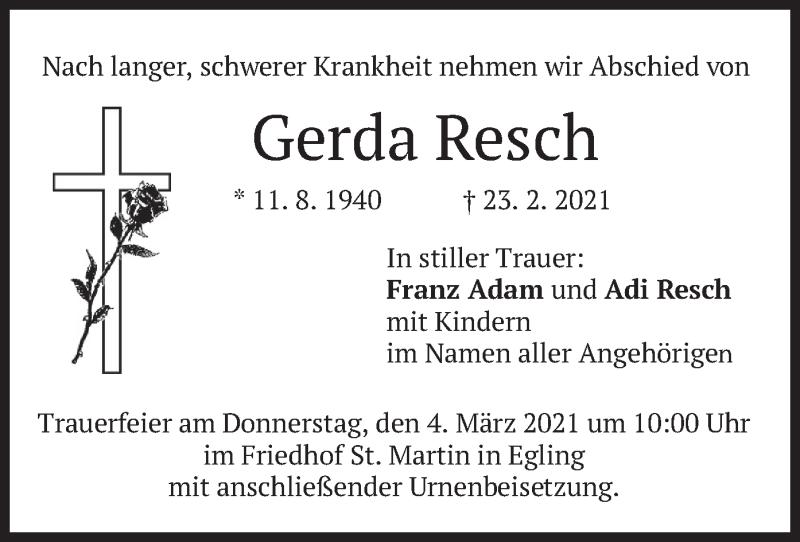 Traueranzeige für Gerda Resch vom 02.03.2021 aus merkurtz