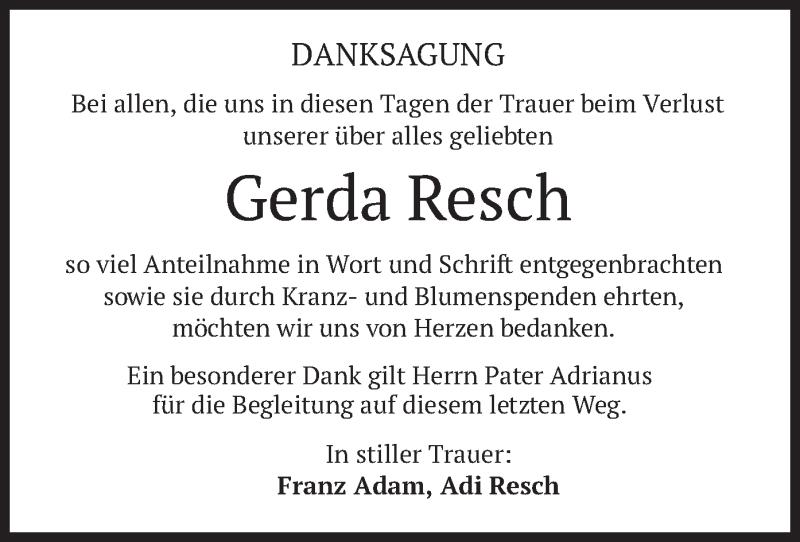 Traueranzeige für Gerda Resch vom 13.03.2021 aus merkurtz