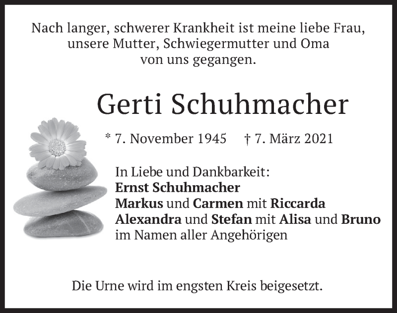 Traueranzeige für Gerti Schuhmacher vom 13.03.2021 aus merkurtz