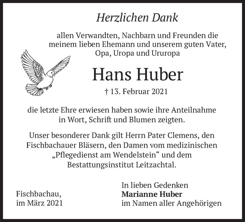 Traueranzeige für Hans Huber vom 13.03.2021 aus merkurtz