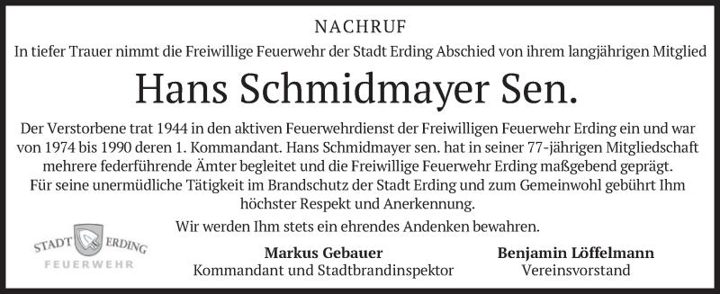 Traueranzeige für Hans Schmidmayer vom 24.03.2021 aus merkurtz