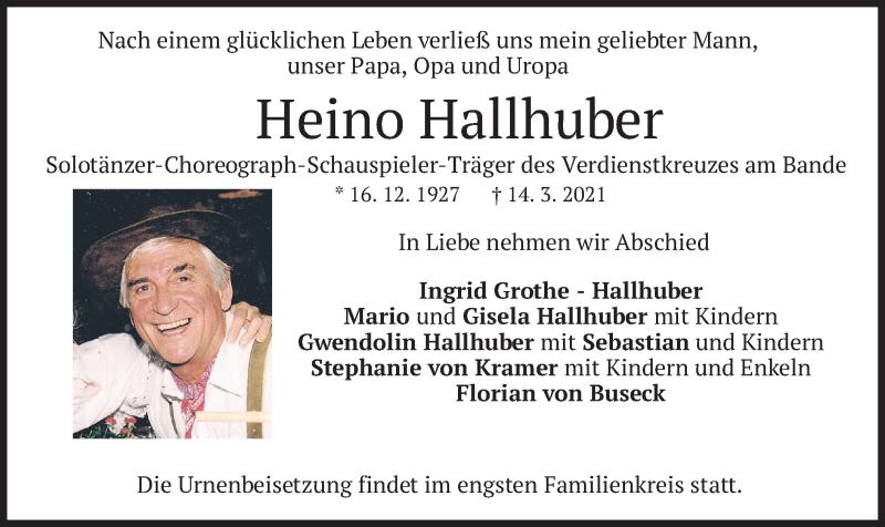 Traueranzeige für Heino Hallhuber vom 20.03.2021 aus merkurtz