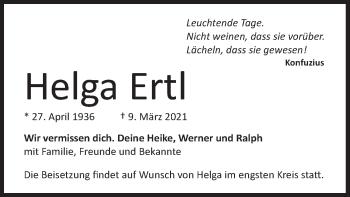 Traueranzeige von Helga Ertl von merkurtz