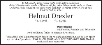 Traueranzeige von Helmut Drexler von merkurtz