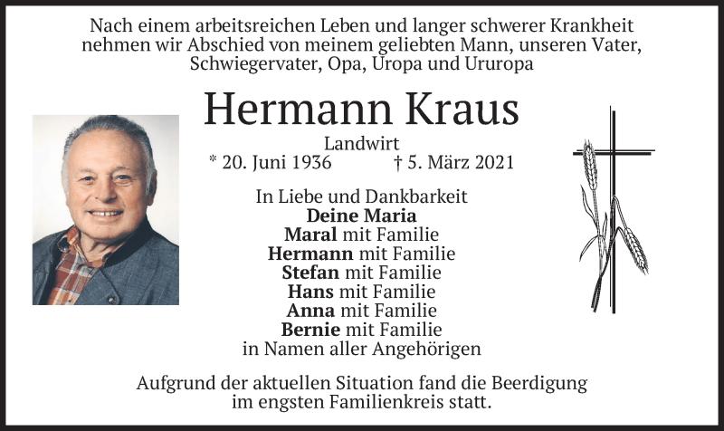 Traueranzeige für Hermann Kraus vom 13.03.2021 aus merkurtz