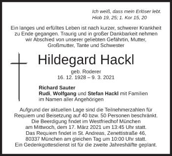 Traueranzeige von Hildegard Hackl von merkurtz