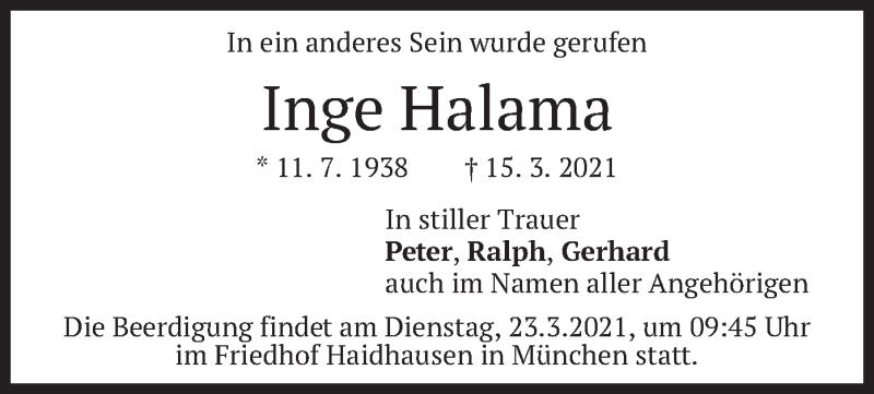 Traueranzeige für Inge Halama vom 19.03.2021 aus merkurtz