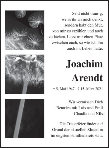 Traueranzeige von Joachim Arendt von merkurtz