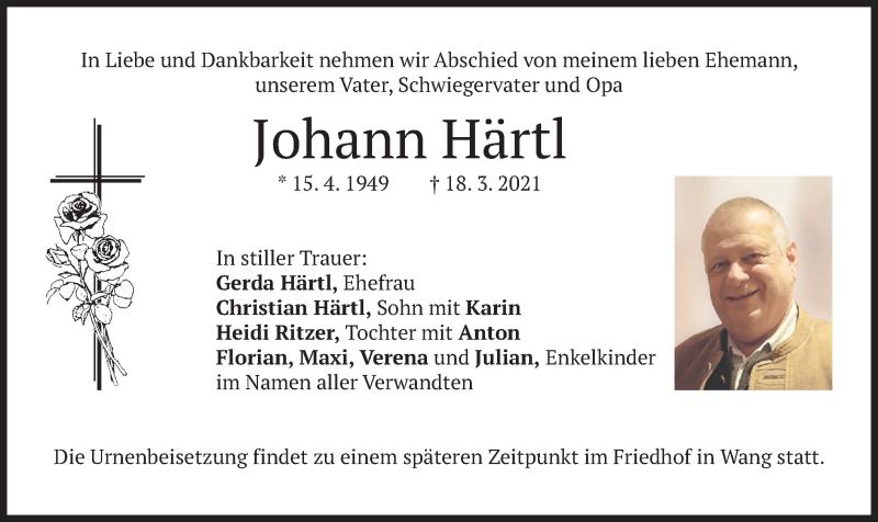 Traueranzeige für Johann Härtl vom 20.03.2021 aus merkurtz