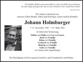 Traueranzeige von Johann Holmburger von merkurtz