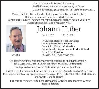 Traueranzeige von Johann Huber von merkurtz