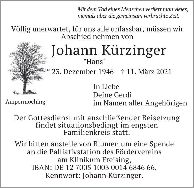 Traueranzeige für Johann Kürzinger vom 20.03.2021 aus merkurtz