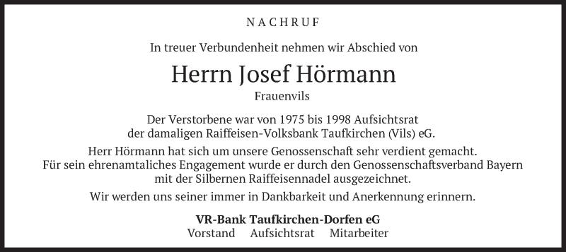 Traueranzeige für Josef Hörmann vom 18.03.2021 aus merkurtz