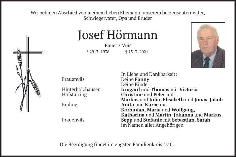 Traueranzeige für Josef Hörmann vom 17.03.2021 aus merkurtz