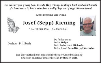 Traueranzeige von Josef Kiening von merkurtz