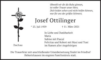 Traueranzeige von Josef Ottilinger von merkurtz