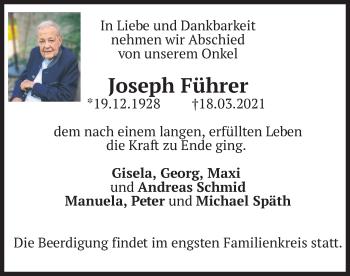 Traueranzeige von Joseph Führer von merkurtz