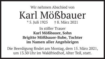 Traueranzeige von Karl Mößbauer von merkurtz