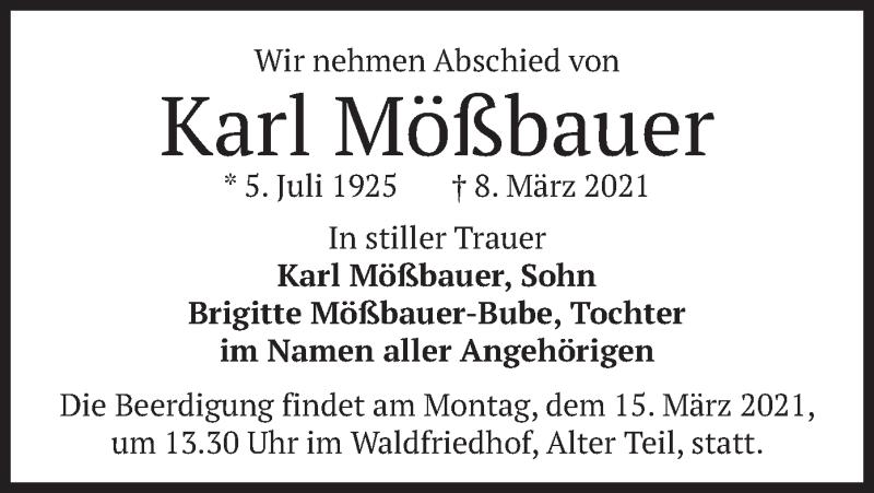 Traueranzeige für Karl Mößbauer vom 13.03.2021 aus merkurtz