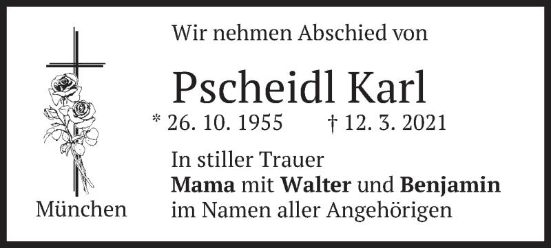 Traueranzeige für Karl Pscheidl vom 20.03.2021 aus merkurtz