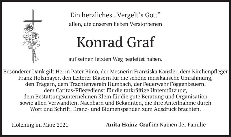 Traueranzeige für Konrad Graf vom 20.03.2021 aus merkurtz