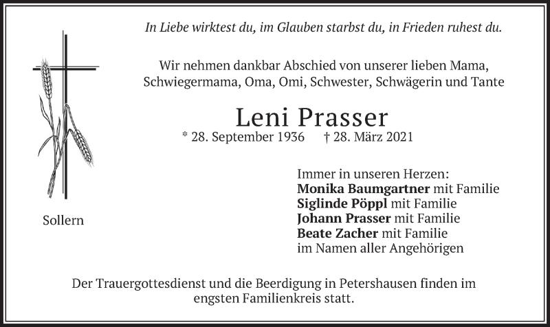 Traueranzeige für Leni Prasser vom 31.03.2021 aus merkurtz
