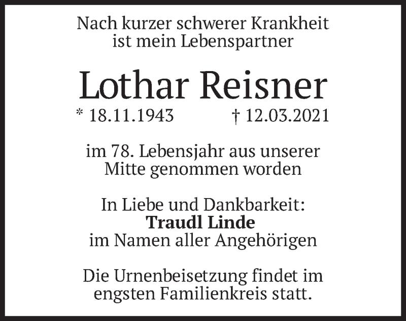 Traueranzeige für Lothar Reisner vom 24.03.2021 aus merkurtz