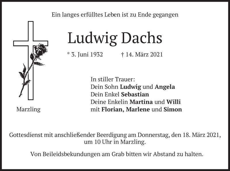 Traueranzeige für Ludwig Dachs vom 17.03.2021 aus merkurtz
