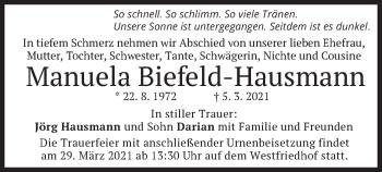 Traueranzeige von Manuela Biefeld-Hausmann von merkurtz