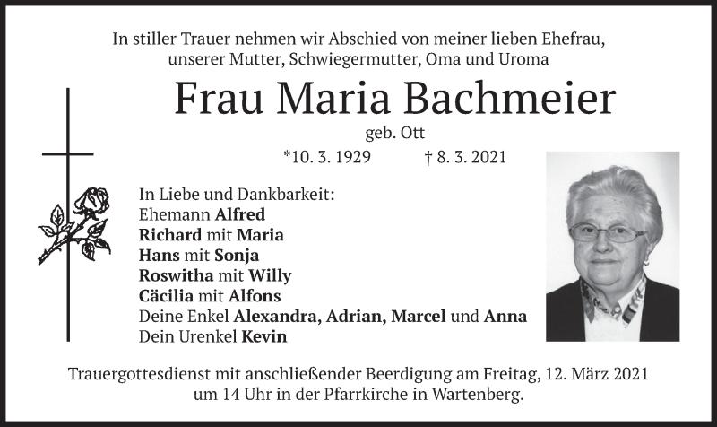Traueranzeige für Maria Bachmeier vom 10.03.2021 aus merkurtz