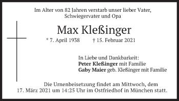 Traueranzeige von Max Kleßinger von merkurtz
