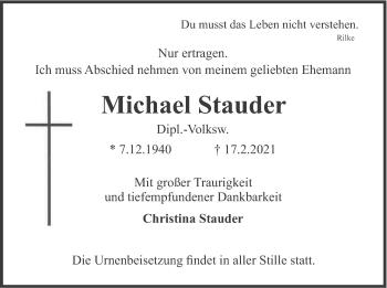 Traueranzeige von Michael Stauder von merkurtz