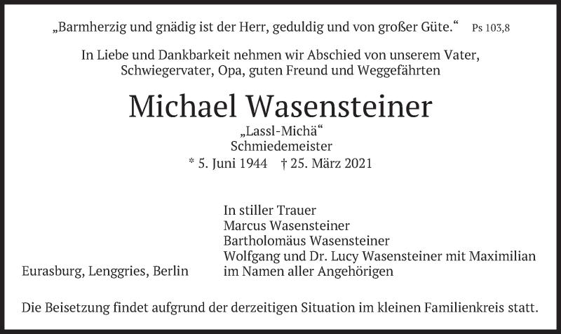 Traueranzeige für Michael Wasensteiner vom 31.03.2021 aus merkurtz