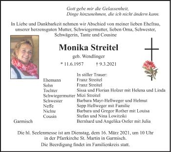 Traueranzeige von Monika Streitel von merkurtz