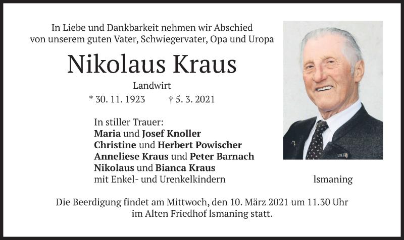 Traueranzeige für Nikolaus Kraus vom 06.03.2021 aus merkurtz
