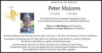 Traueranzeige von Peter Majores von merkurtz