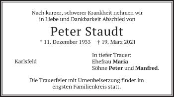 Traueranzeige von Peter Staudt von merkurtz