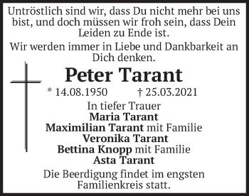 Traueranzeige von Peter Tarant von merkurtz