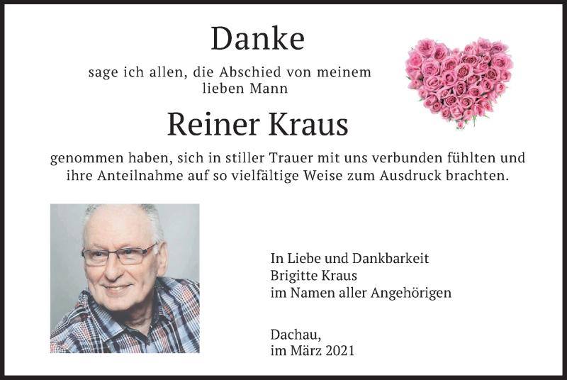Traueranzeige für Reiner Kraus vom 20.03.2021 aus merkurtz