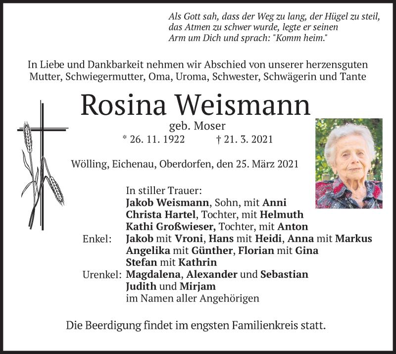 Traueranzeige für Rosina Weismann vom 25.03.2021 aus merkurtz