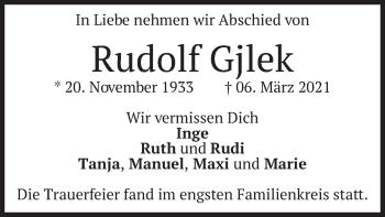 Traueranzeige von Rudolf Gjlek von merkurtz