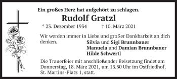 Traueranzeige von Rudolf Gratzl von merkurtz
