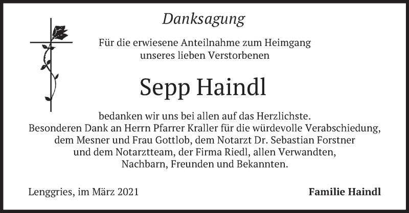 Traueranzeige für Sepp Haindl vom 13.03.2021 aus merkurtz